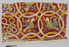 Embroidery Fragment, 14th century, Swiss, Silk embroidery on linen plain weave 13 1/4 x 21 1/16 in. (33.7 x 53.5 cm) The Cloisters Collection, 2010