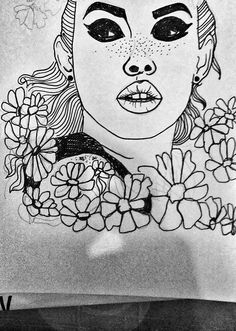 imperfection #drawing #freckles #flower #girl