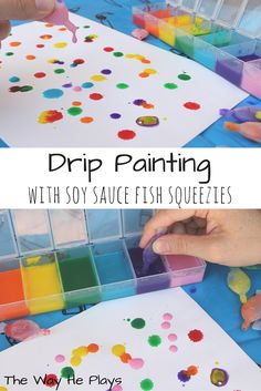 Drip Painting with Soy Sauce Fish Squeezies!