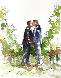 Wedding Portrait, Original watercolor portrait, wedding gift, wedding keepsake