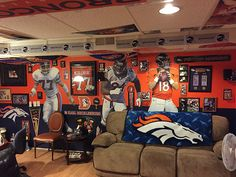 If you love the Denver Broncos you are going to love this. These are some of the coolest Broncos man caves we have ever saw. Denver Broncos Womens, Go Broncos, Broncos Fans, American Football League, Best Football Team, Football Memes, Sports Man Cave, Denver City, Denver Colorado