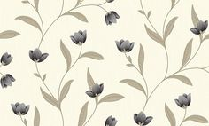 Othello Charcoal (882000) - Arthouse Wallpapers - A simple tulip floral trail with decorative detail – shown in the charcoal grey colourway. Co-ordinating stripe available. Please request sample for true colour match.