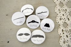 Moustache party pins