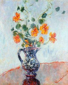 Nasturtiums in a Blue Vase ~ Claude Monet Monet Paintings, Impressionist Paintings, Paintings I Love, Impressionism Art, Claude Monet, Artist Monet, Art Beauté, Art Japonais, Pierre Auguste Renoir