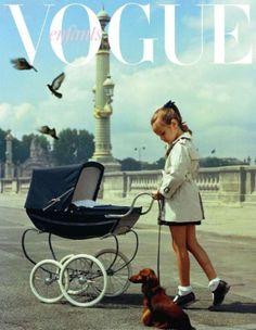 Dachshund and girl pushing pram from Vogue Enfants Baby Kind, Dachshund Love, Daschund, Vogue Covers, Buggy, Baby Carriage, Vintage Vogue, Vintage Pram, Kids Fashion