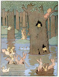 Deluge.... Extrait des contes du lapin vert illustré par Benjamin Rabier.