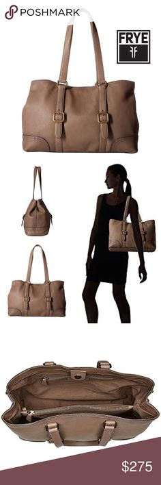 "LILY  leather tote The Frye Lily Tote will give you the classic and sophisticated look you've been searching for! Supple leather upper + Magnetic-snap closure + 2 flat carrying handles + Exterior features buckle details + Flat base with protective feet + Lined interior features two zip and additional slip pockets.  Measurements: Bottom Width: 15 1⁄2"" Depth: 4 1⁄2"" Height: 11"" Strap Length: 23 1⁄2"" Strap Drop: 11""  Bundle Discount ^ No Trades ^ Offers Considered ^ Have a question? Please Ask…"