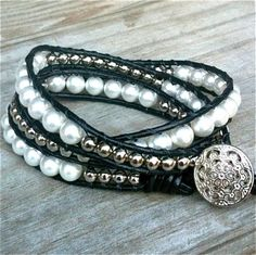 Jackie - black leather 3-wrap bracelet white glass pearls silver beads.  75.00    https://www.facebook.com/TOWN.BEADROCK