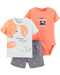 Your little crab will be too cute to pinch in this boys' Carter's tee, bodysuit and shorts set. In orange/white. Body Suit With Shorts, T Shirt And Shorts, Bodysuit Shorts, Niñas Carters Baby, Carters Baby Boy Clothes, Outfits In Weiss, Clothing Hacks, Boy Clothing, Clothing Sets