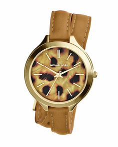 Michael Kors Mid-Size Tan Leather Runway Three-Hand Watch.