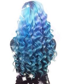 Blue curly dyed hair