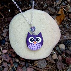purple clay owl charm necklace, with pink crystal, and a heart in the back  $10.50