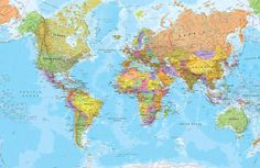 Checkout our awesome political world map wallpaper. Create a stunning geographical interior with this detailed political world map mural. Cool World Map, World Map Mural, Kids World Map, Bedroom Wallpaper Murals, Geometric Wallpaper Murals, Graffiti Wallpaper, Nursery Murals, Horse Wallpaper, Globe Wallpaper