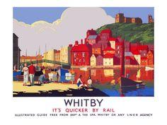 Vintage Travel Poster - UK - Whitby - Railway