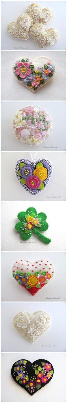 ✄ A Fondness for Felt ✄ felted craft diy inspiration - felt hearts Crafts To Make, Arts And Crafts, Diy Crafts, Felt Flowers, Fabric Flowers, Fabric Crafts, Sewing Crafts, Felt Embroidery, Embroidery Jewelry