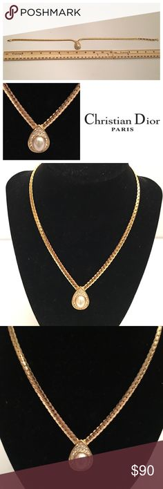 "CHRISTIAN DIOR AUTHENTIC GOLD TONE NECKLACE CHRISTIAN DIOR AUTHENTIC GOLD TONE NECKLACE.  Approx 18"".  Necklace has diamond-like and faux pearl to beautifully accent this piece.  Necklace is marked ""CHR DIOR"" see pic.  ❌ trades, reasonable offers considered. Please no low ball offers. Thank you. Christian Dior Jewelry Necklaces"