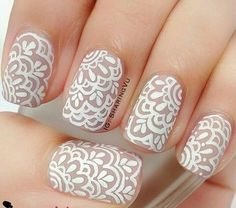 white, white nails, and nails art image