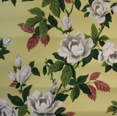 1940's Vintage Wallpaper Large white magnolia by HannahsTreasures