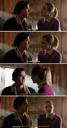 "Riverdale ""Chapter Twenty-Seven: The Hills Have Eyes"" Riverdale Quotes, Bughead Riverdale, Riverdale Archie, Riverdale Funny, Betty Cooper, Alice Cooper, Riverdale Betty And Jughead, The Hills Have Eyes, Lili Reinhart And Cole Sprouse"