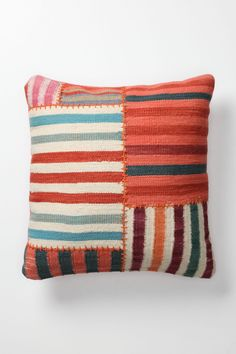 Banded Dhurrie Pillow, Large Square - Anthropologie.com