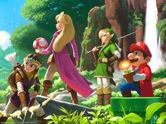 Nintendo: Super Mario meets Legend of Zelda. Super Mario Bros, Nintendo Super Smash Bros, Super Smash Bros Memes, Metroid, Video Game Art, Video Games, Creepypasta Anime, Princesa Peach, Nintendo Princess