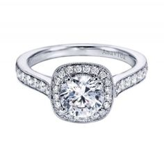 14K White Gold Pave Cathedral Halo Engagement Ring