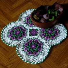 Purple Flower Celtic Woven Mat - Irish Crochet Art Decor by RSS Designs In Fiber @rssdesignsfiber
