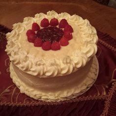 Raspberry Cream Yellow Cake