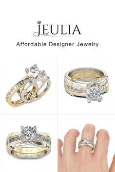 Diamoire Jewels Round Swarovski Zirconia Ring Set in 10Kt White Gold - UK U - US 10 1/4 - EU 62 3/4 PIuCpvD