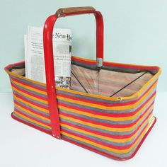 Remember these? Once upon a time, folding baskets like this one would have been in a stack near the entrance to assist shoppers at Woolworth's or other five-and-dime stores. Today, it would be fun to use for storage in a studio or sewing room; also perfect to take on a trip to the flea market, beach, picnic or farmers market. #forsaleonetsy