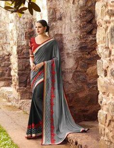Dark Grey Designer Woked Saree 16177