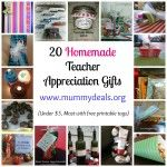 20 Homemade Teacher Appreciation Gifts all under $5, most with #free printable tags from #mummydeals.org. #teacher #teacherappreciation