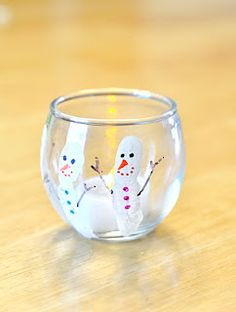Fingerprint Snowman Votive Holder