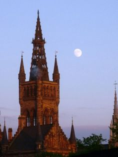 Glasgow Moonrise from theQueen Margaret Union, University of Glasgow.