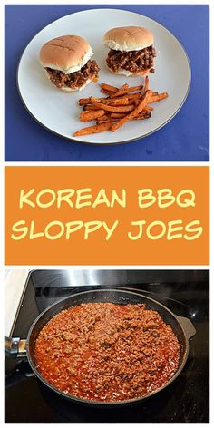Give dinner a twist with these Korean BBQ Sloppy Joes with pickled vegetables. #beef #easyrecipes #sandwich | Sandwich Recipes | Sloppy Joe Recipes | Korean BBQ Recipes | Weeknight Meals | Easy Recipes | Beef Recipes Best Beef Recipes, Top Recipes, Popular Recipes, Other Recipes, Easy Recipes, Dessert Recipes, Onion Burger, Burger Buns, Easy Skillet Dinner