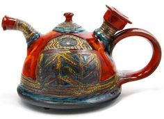 Colorful Bulgarian Ceramic Teapot, Hand Decorated by Master Artist Danko in the Eastern European Nation of Bulgaria.  www.homeinteriordesignthemes.com