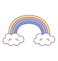 Rainbow with clouds cartoon design vector Party Cartoon, Fruit Cartoon, Food Cartoon, Background Design Vector, Background Patterns, Cloud Vector, School Tool, Plant Vector, Skull Decor