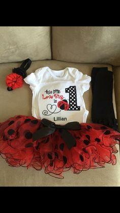 Ladybug Pettiskirt traje traje de cumpleaños de la por SaraSewtique