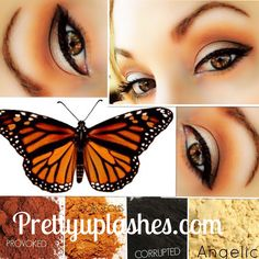 Flutter your wings with this Monarch-inspired look created by Pretty Up Lashes. Younique pigments in Provoked, gorgeous, corrupted and angelic make up this striking palette. Available individually or in a money-saving collection at prettyuplashes.com