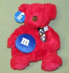 "M&M Red Plush TEDDY BEAR Blue Candy M&M STORE Colorful Bow NWT 15"" Stuffed Mars #MarsInc #any"