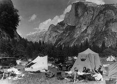 camping in yosemite natl park circa 1920s