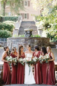Burgundy, velvet bridesmaid dresses - mix-and-match bridesmaid dresses - Find a photographer in your city on WeddingWire! {Asya Photography} Bridesmaid Gifts From Bride, Maroon Bridesmaid Dresses, Bridesmaid Thank You, Asking Bridesmaids, Bridesmaid Outfit, Wedding Bridesmaids, Wedding Dresses, Bridesmaid Ideas