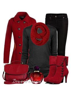 Black jeans and jumper, red jacket, scarf, boots and bag.