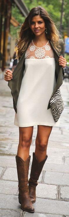 Laura Dalun White Sheer Lace Shoulder Shift Mini Dress by TrendyTaste