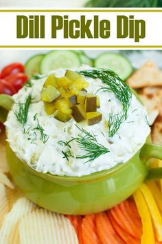 A creamy dip recipe that is full of dill pickle flavor. This Dill Pickle Dip with cream cheese and sour cream takes just 5 minutes to make and is an easy appetizer for a party, potluck, or summer BBQ. Great make ahead snack idea and perfect recipe for a 4th of July party. #appetizers #dips #snacks #pickles #dill #potluck #summer #july4th Dill Pickle Soup, Pickle Dip, Pickle Wraps, Bbq Appetizers, Appetizer Recipes, Christmas Appetizers, Christmas Snacks, Cream Cheese Dips, Dip Recipes