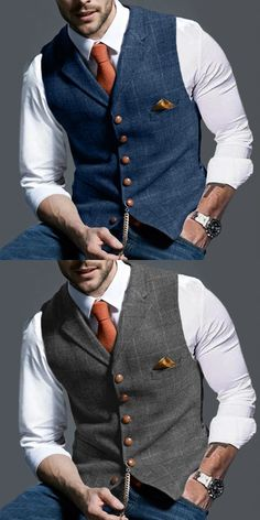 Bussiness Casual Vest - Men's clothes, stylish men's vest , trendy style & exquisite workmanship, perfect for your gent - Men's Business Outfits, Business Men, Business Casual Suits For Men, Trendy Suits For Men, Mens Smart Casual Outfits, Traje Casual, Mode Man, Herren Outfit, Vest Outfits