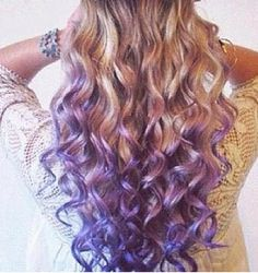 Purple dye dipped hair...I've had purple and blue dip dyed ends for two years now, love that it's popular now :)