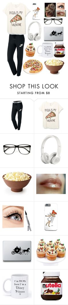 """What my Saturday nights consist of"" by blessed-with-beauty-and-rage ❤ liked on Polyvore featuring NIKE, Beats by Dr. Dre, Luminess Air, Disney, ASOS, Fox Run, women's clothing, women, female and woman"