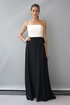 Bridesmaid dress to go with black and white wedding dress. Two-toned dresses are a fabulous idea for your black and white wedding. #WeddingSeason