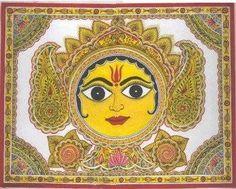 Sun God in Mithila / Madhubani Painting by Dr Mridula Prakash.